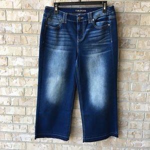 Maurices Crop Stretch Denim Jeans Frayed 9 10